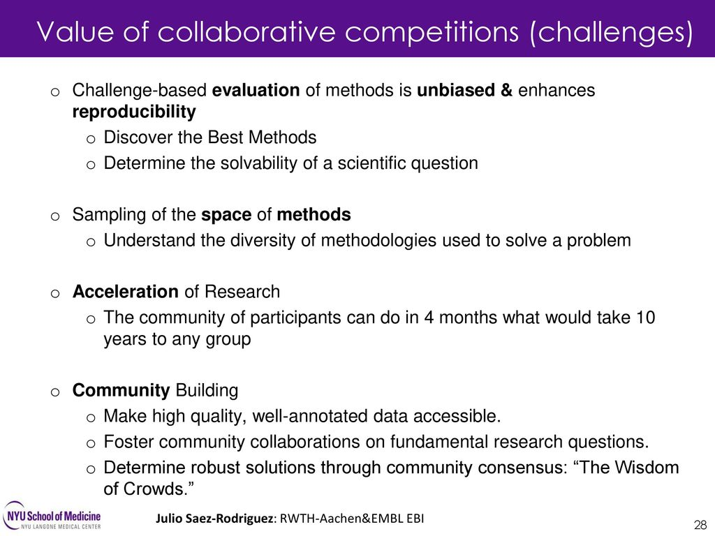 Value of collaborative competitions (challenges)