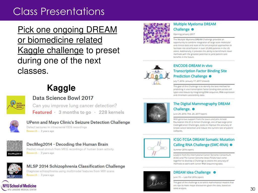 Class Presentations Pick one ongoing DREAM or biomedicine related Kaggle challenge to preset during one of the next classes.