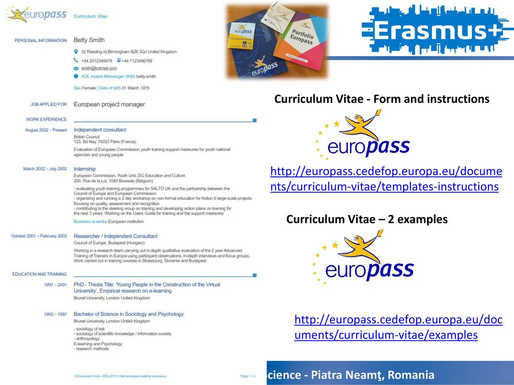 A step to the europass ppt download curriculum vitae form and instructions yelopaper Choice Image