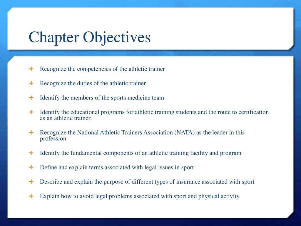 Pe 282 introduction to athletic training ppt download chapter objectives recognize the competencies of the athletic trainer 1betcityfo Choice Image