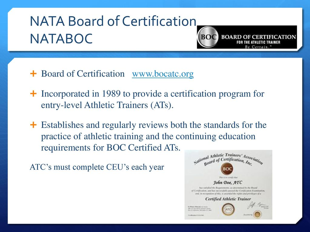 Pe 282 introduction to athletic training ppt download nata board of certification nataboc 15 establishing athletic training program 1betcityfo Choice Image