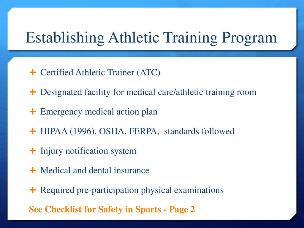 Pe 282 introduction to athletic training ppt download establishing athletic training program 1betcityfo Choice Image