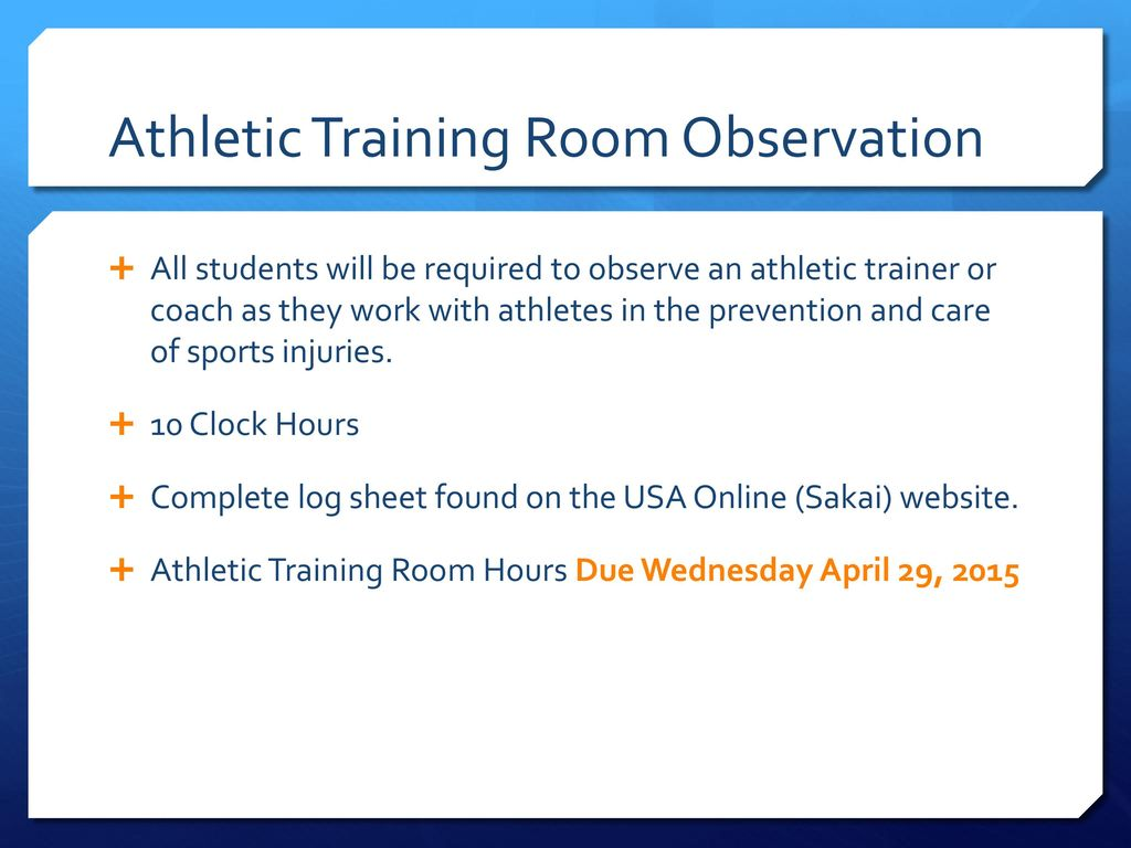 Pe 282 introduction to athletic training ppt download athletic training room observation 1betcityfo Choice Image