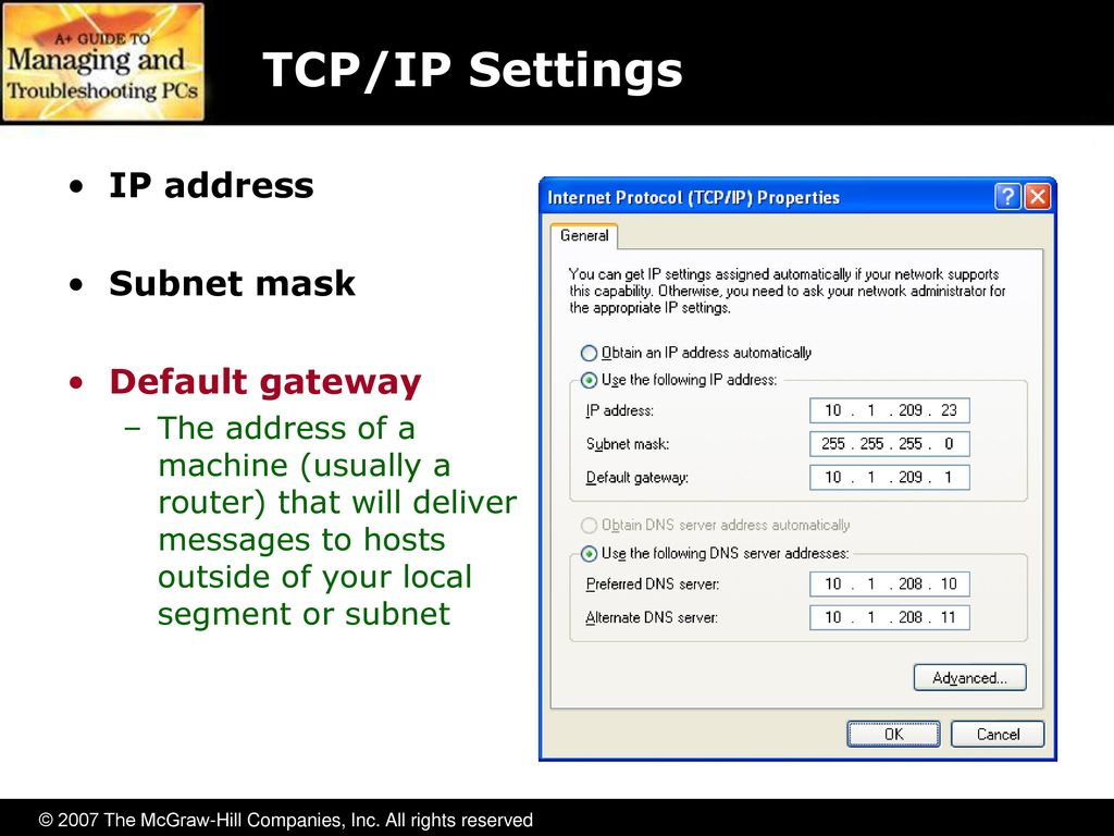 how to set to default my tcp ip settings