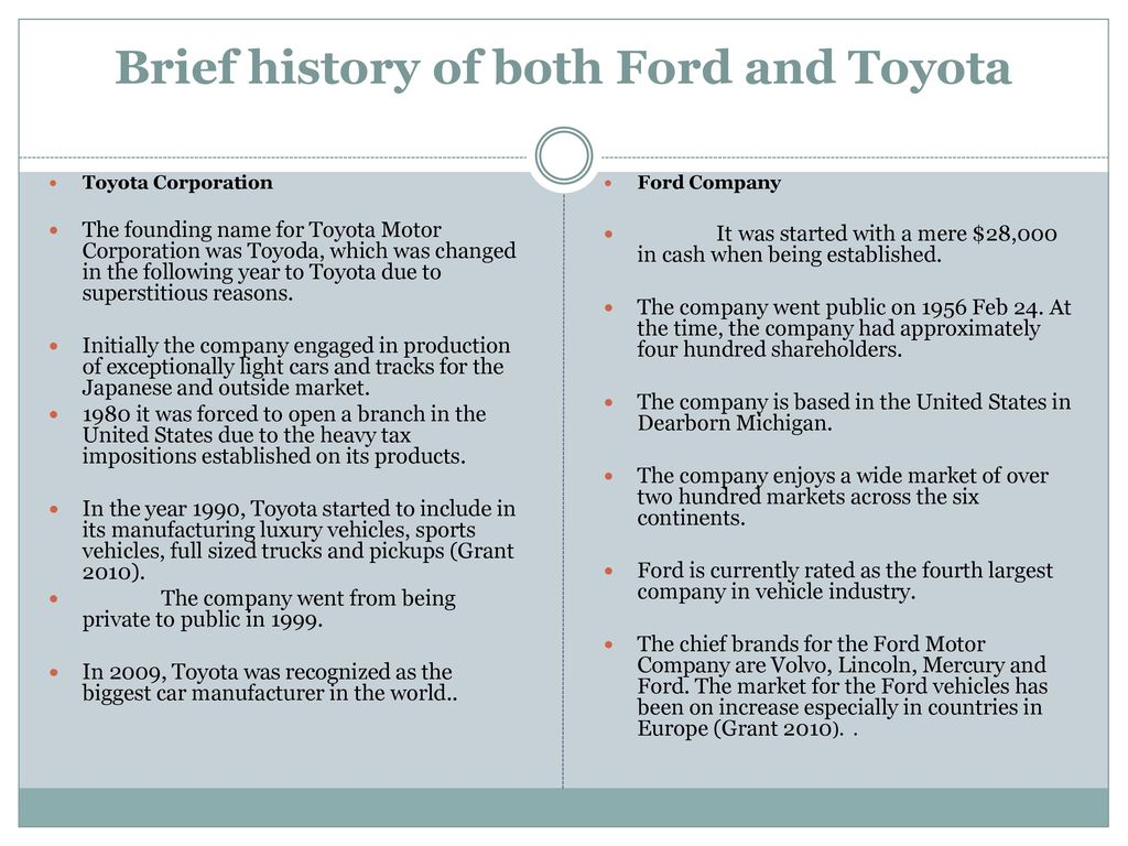 Short history of toyota motor corporation for Ford motor company human resources phone number