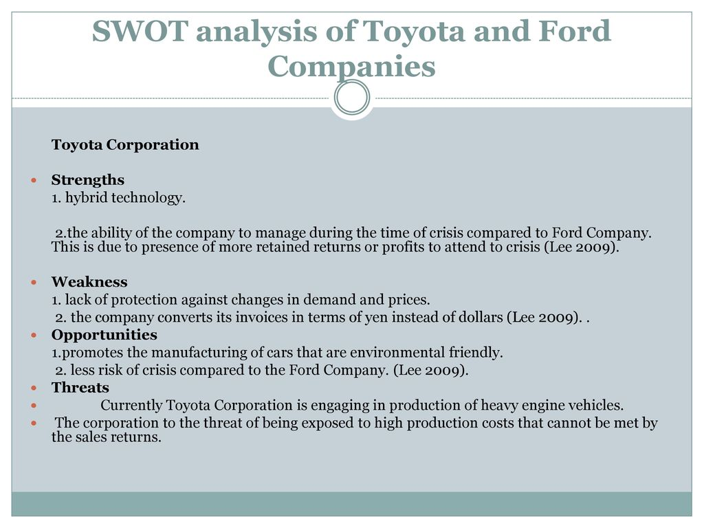 Ford SWOT Analysis, Competitors & USP