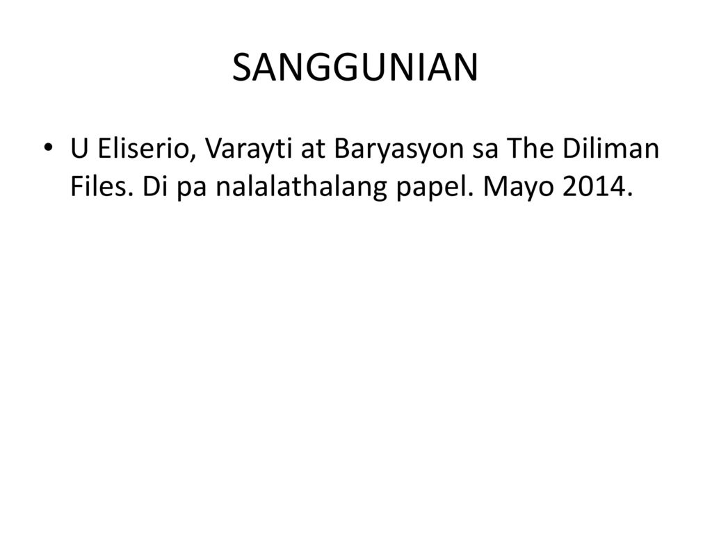 SANGGUNIAN U Eliserio, Varayti at Baryasyon sa The Diliman Files.