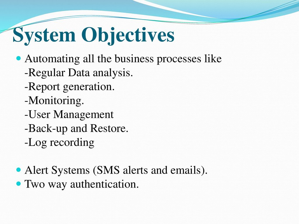 Aims and Objectives report