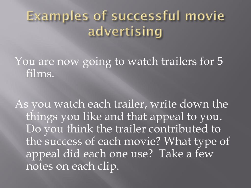 Examples of successful movie advertising