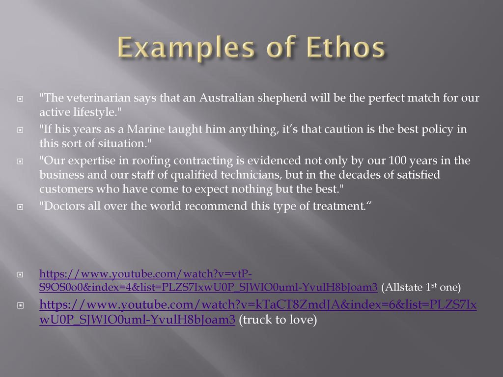 Examples of Ethos The veterinarian says that an Australian shepherd will be the perfect match for our active lifestyle.