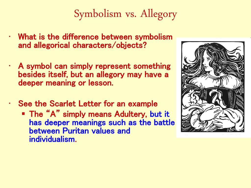 What is the difference between symbolism and allegory image the ministers black veil by nathaniel hawthorne ppt download 5 symbolism vs allegory what is the buycottarizona