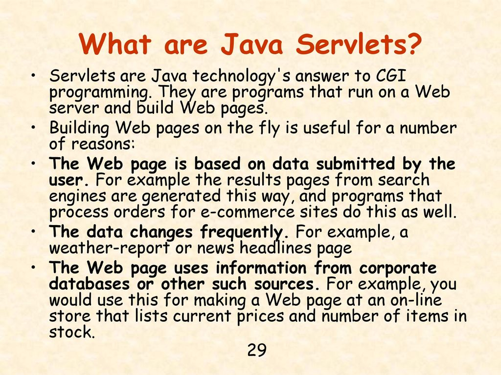 Chapter 14 jdbc java server pages and mysql ppt download what are java servlets servlets are java technology s answer to cgi programming they are baditri Images