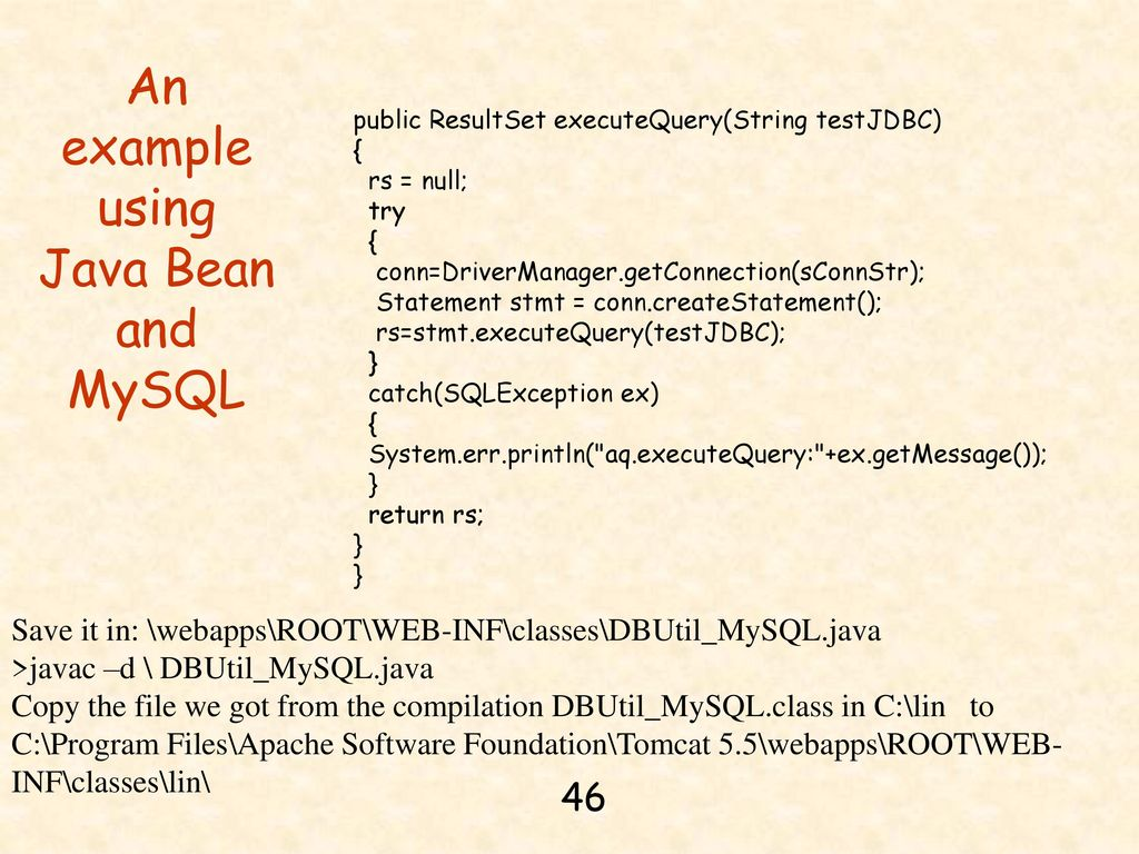 Chapter 14 jdbc java server pages and mysql ppt download an example using java bean and mysql baditri Gallery
