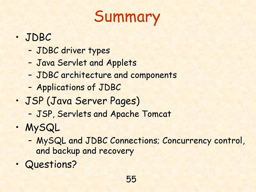 Chapter 14 jdbc java server pages and mysql ppt download summary jdbc jsp java server pages mysql questions baditri Images