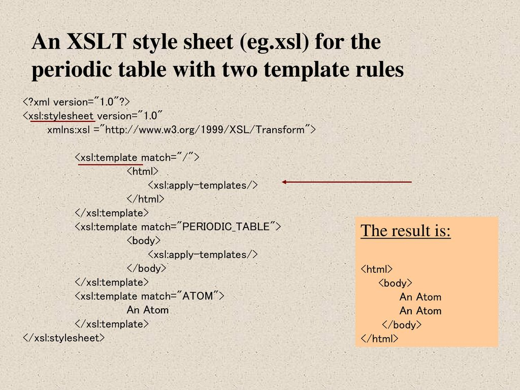 Xsl transformations xslt ppt download 12 an xslt style sheet egxsl for the periodic table with two template rules xml version10 xslstylesheet version10 xmlnsxsl urtaz Choice Image