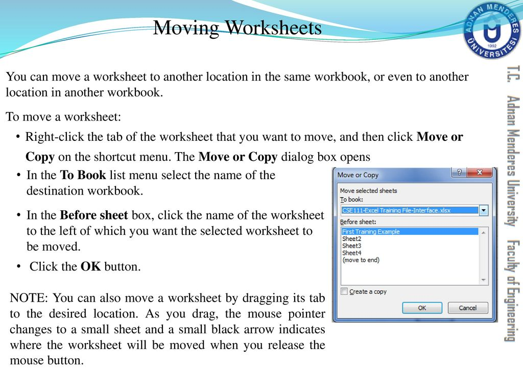 worksheet What Is The Difference Between A Workbook And A Worksheet cse111 introduction to computer applications ppt download moving worksheets you can move a worksheet another location in the same workbook or