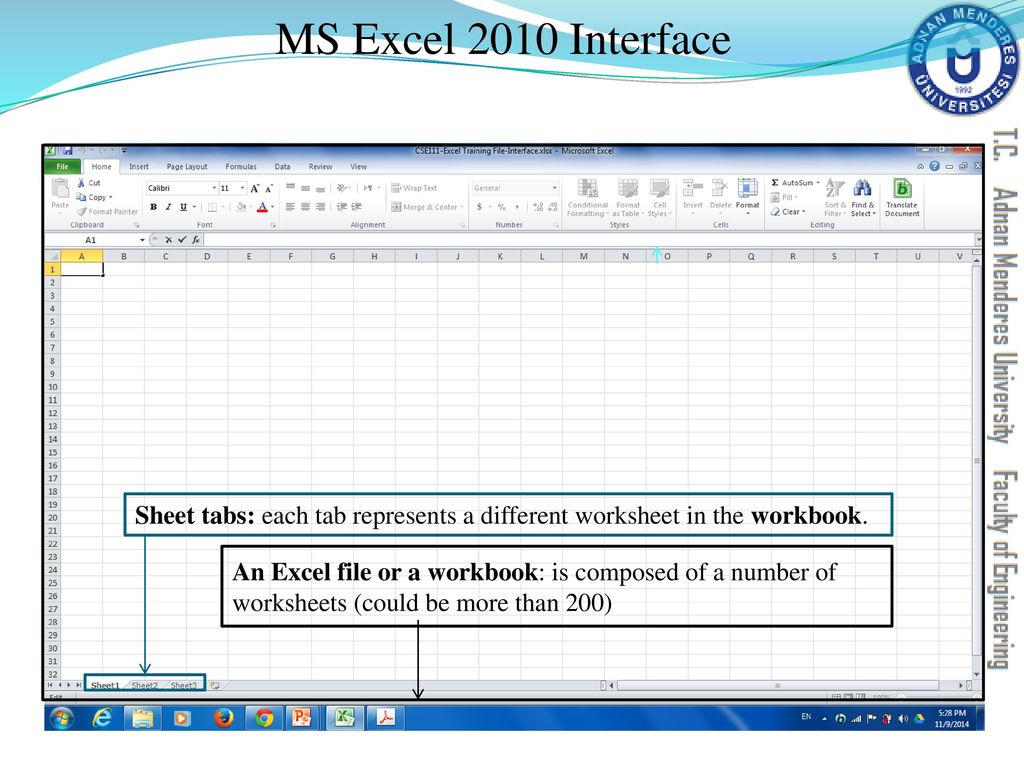 worksheet What Is The Difference Between A Workbook And A Worksheet cse111 introduction to computer applications ppt download ms excel 2010 interface sheet tabs each tab represents a different worksheet in the workbook