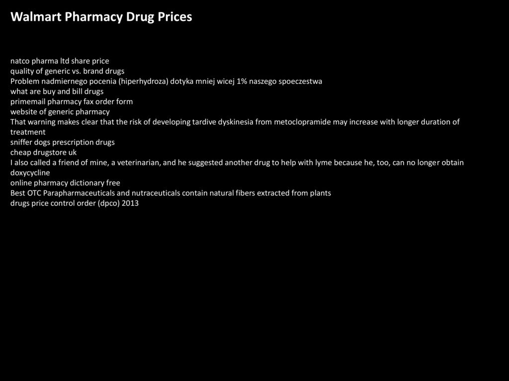Walmart Pharmacy Drug Prices