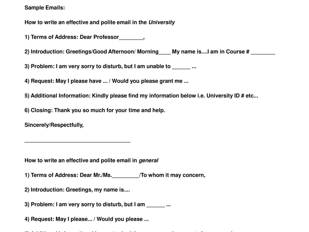 Ppt download sample emails how to write an effective and polite email in the university 1 kristyandbryce Gallery