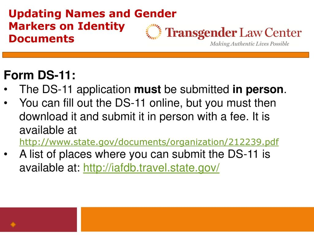 Updating names and gender markers on federal identity documents 19 form ds 11 falaconquin