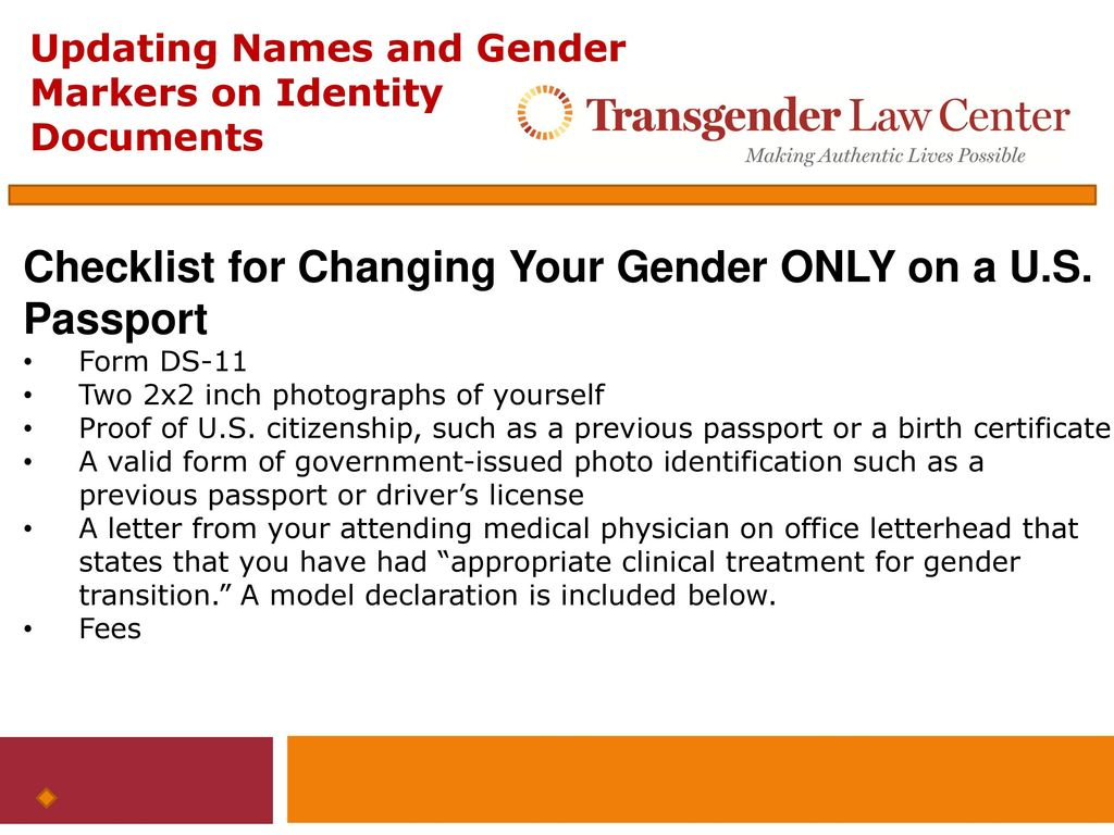 Updating names and gender markers on federal identity documents checklist for changing your gender only on a us passport 1betcityfo Image collections