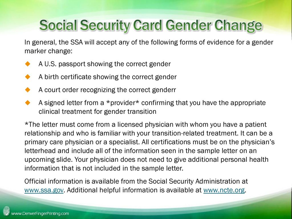 Colorado name changes and other identity documents ppt download social security card gender change xflitez Choice Image