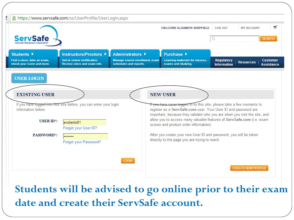 Online testing ppt download 27 students will be advised to go online prior to their exam date and create their servsafe account xflitez Image collections