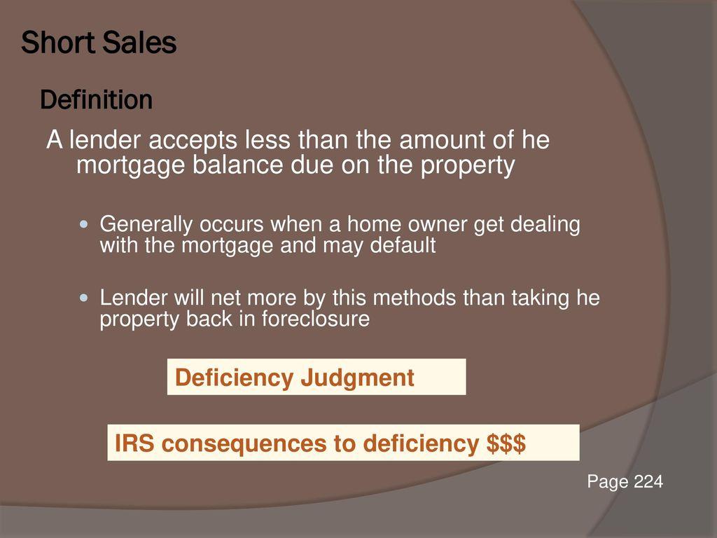 Short Sales Definition