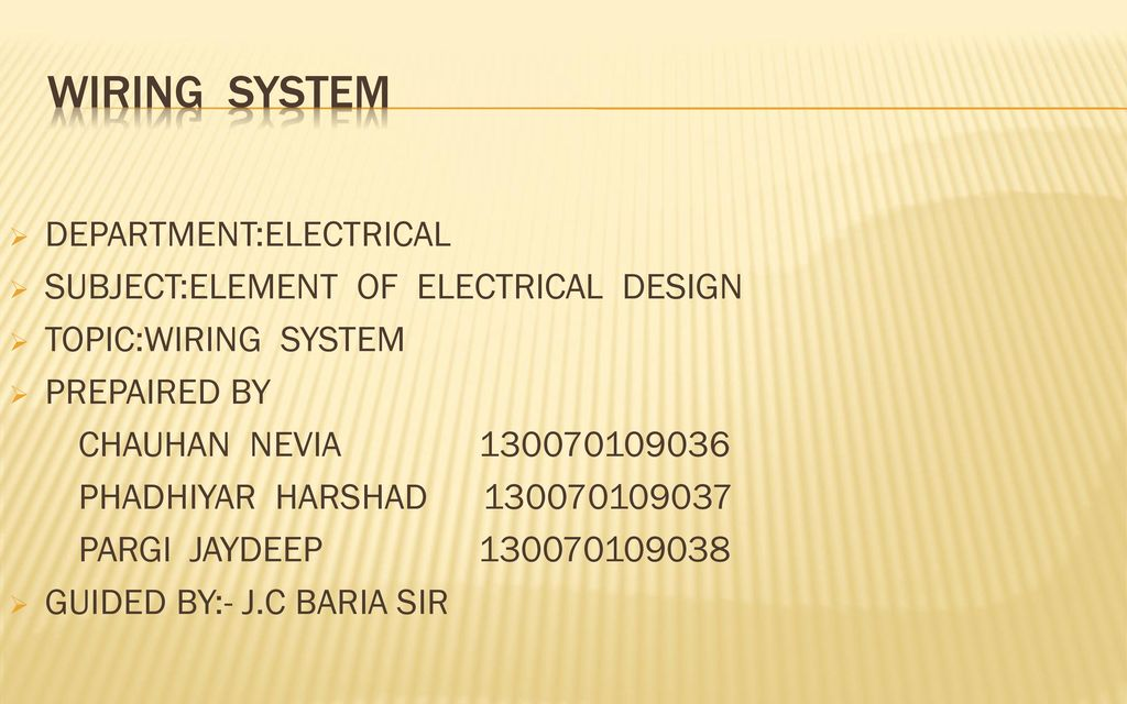 WIRING SYSTEM DEPARTMENTELECTRICAL