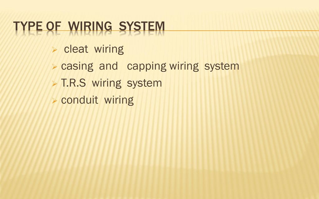 TYPE OF WIRING SYSTEM Cleat Wiring Casing And Capping System