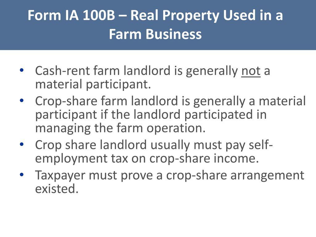 Iowa tax law legislative update iowa capital gain deduction ppt form ia 100b real property used in a farm business falaconquin