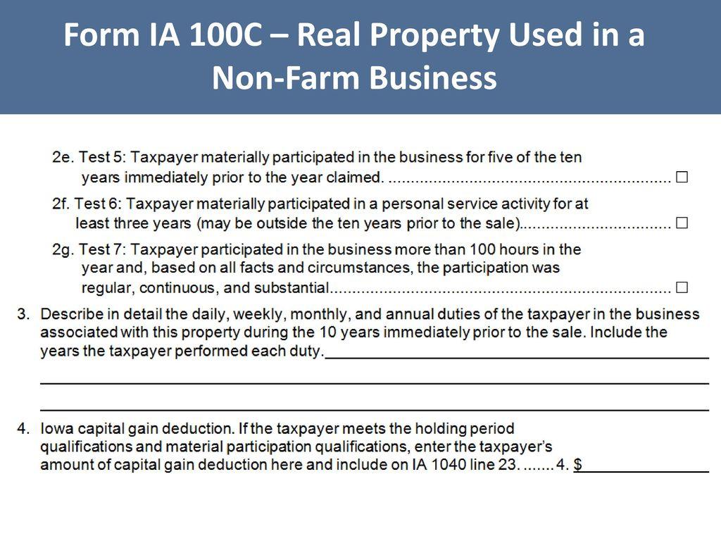 Iowa tax law legislative update iowa capital gain deduction ppt 56 form ia 100c real property used in a non farm business falaconquin