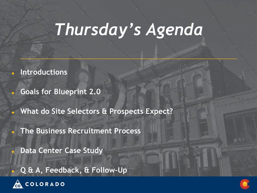 Industry attraction rio blanco county ppt download thursdays agenda introductions goals for blueprint 20 malvernweather Choice Image