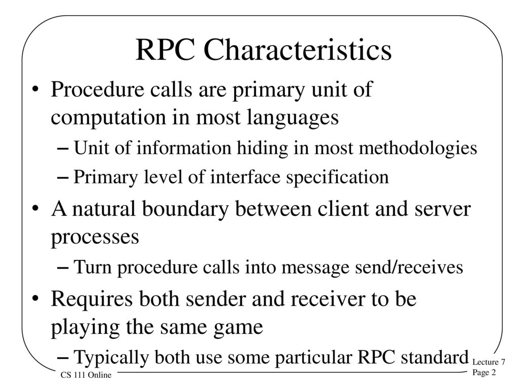 Remote procedure calls ppt download 2 rpc characteristics baditri Image collections