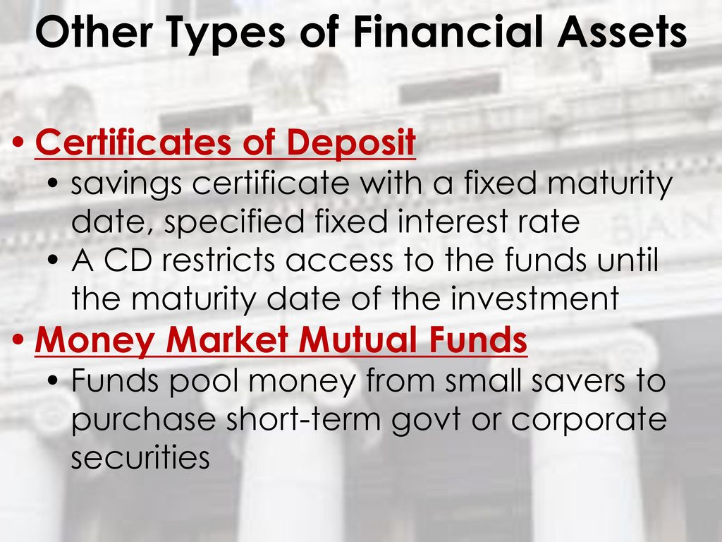 The role of money ppt download 61 other types of financial assets certificates of deposit xflitez Choice Image