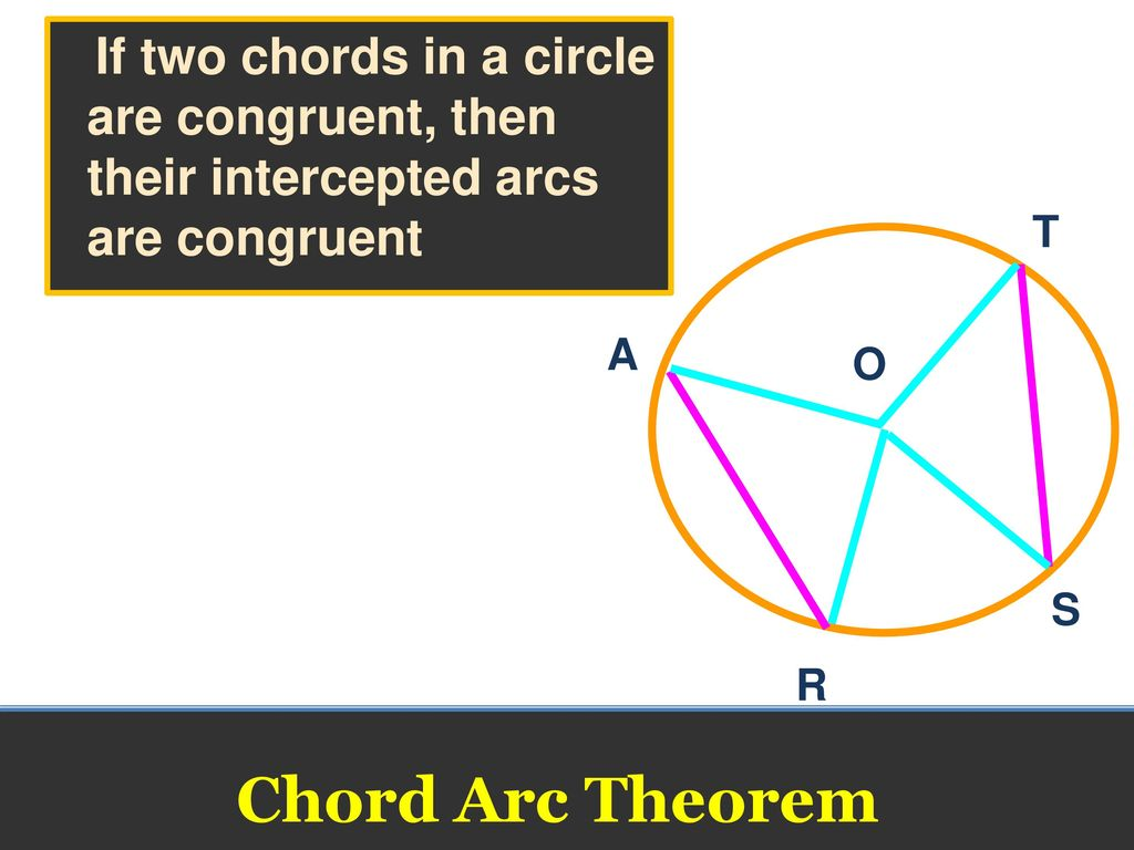 Chords and arcs geometry ppt download if two chords in a circle are congruent then their intercepted arcs are congruent hexwebz Gallery