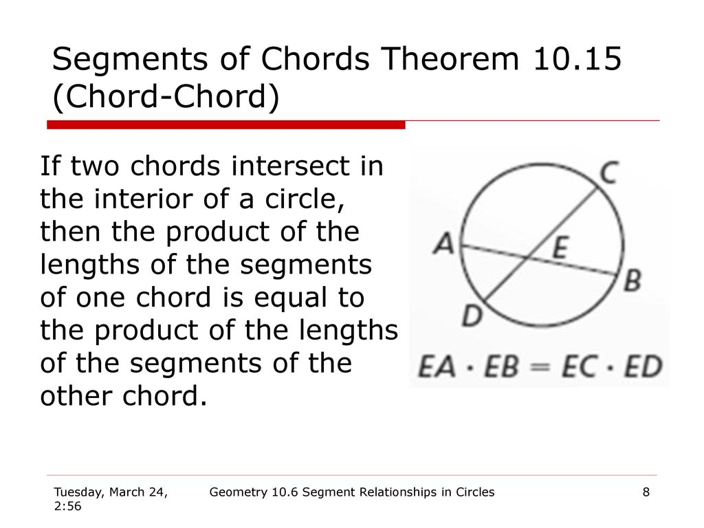 Geometry 106 segment relationships in circles ppt download segments of chords theorem 1015 chord chord hexwebz Gallery