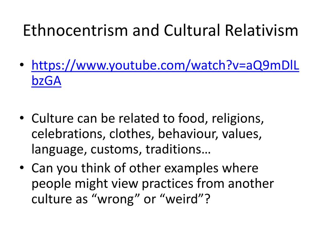 cultural relativism vs. ethnocentrism essay First there has to be the direct definition of actual cultural relativism relating to the modern, known and lived in world according to westward expansion via media.