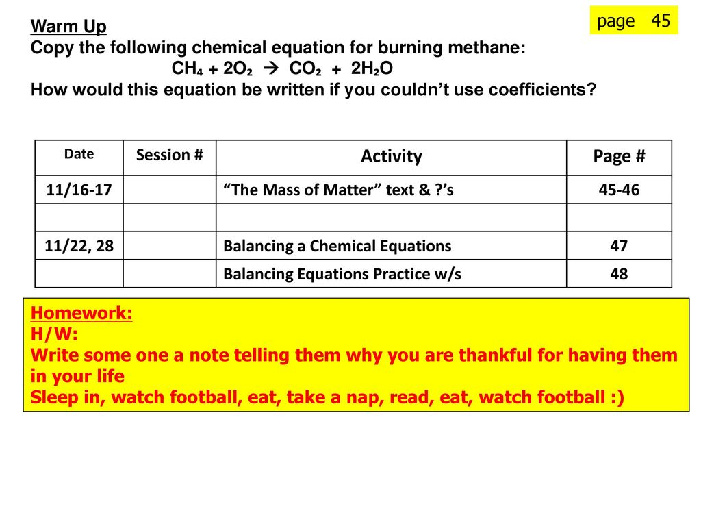 Page 45 warm up copy the following chemical equation for burning 1 page 45 warm up copy the following chemical equation for burning methane biocorpaavc Gallery