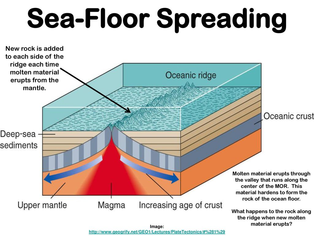Earths interior image ppt download for Evidence for sea floor spreading has come from