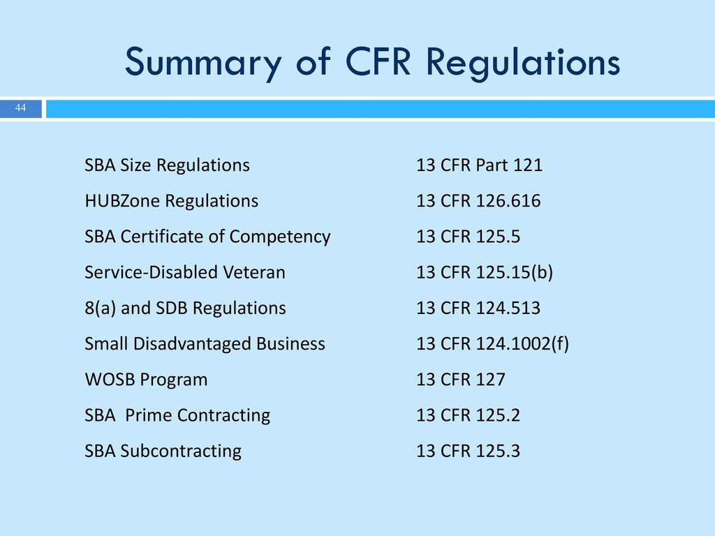 Sba 1st first wednesday virtual learning ppt download summary of cfr regulations xflitez Gallery