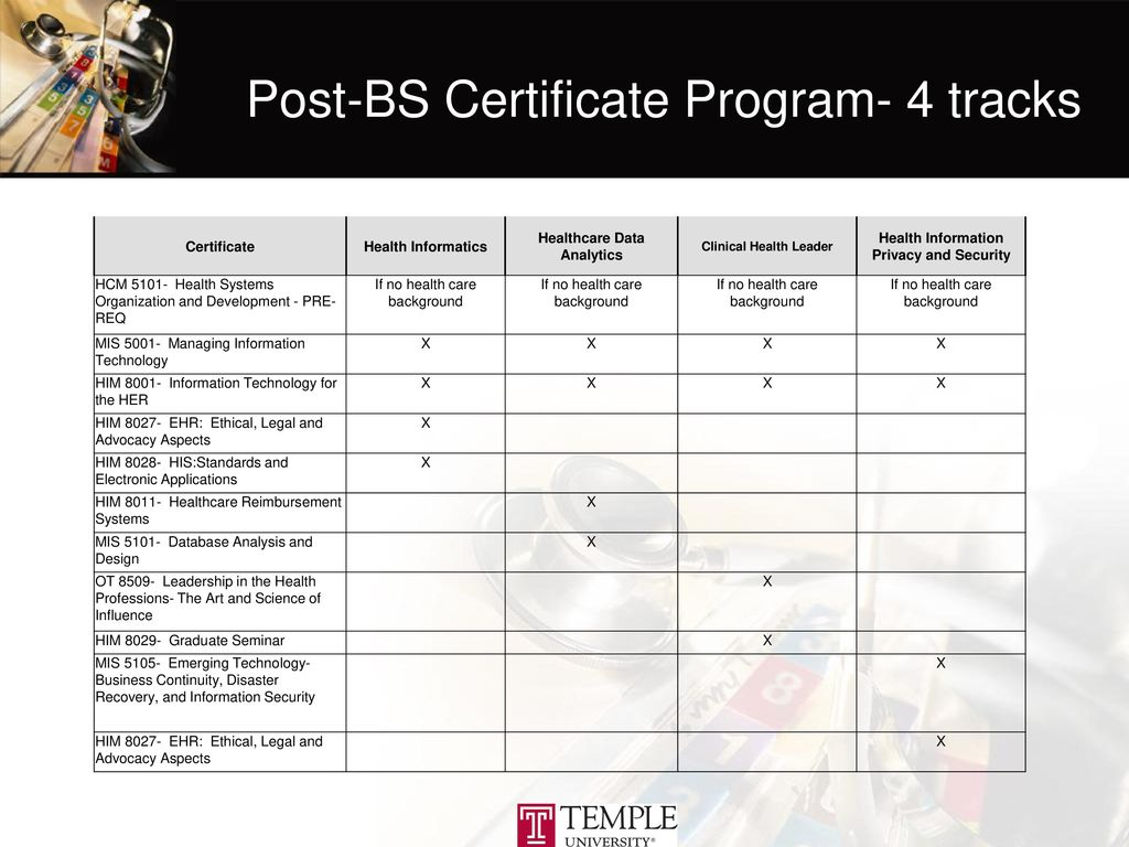 Health information professions ppt download post bs certificate program 4 tracks xflitez Choice Image