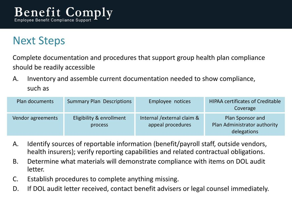 Dol employee benefit plan audits how to prepare ppt download 20 next 1betcityfo Images