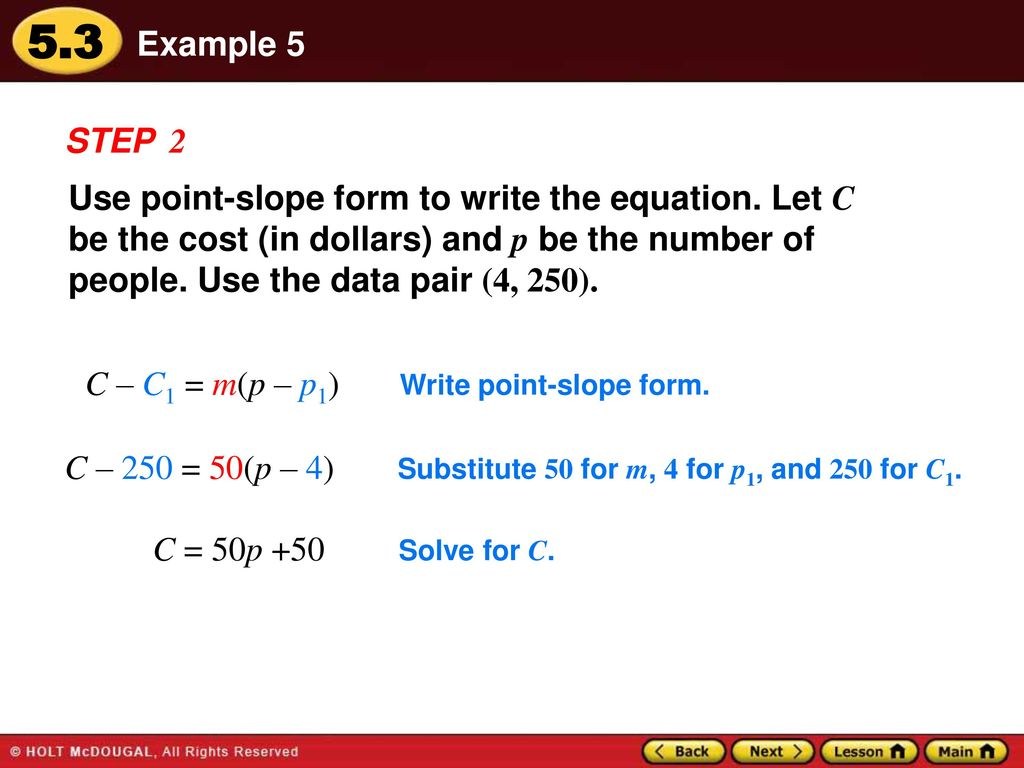 Warm up lesson presentation lesson quiz ppt download 18 example 5 step 2 use point slope form falaconquin