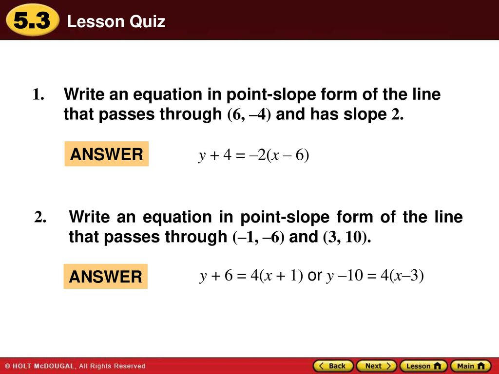 Warm up lesson presentation lesson quiz ppt download 20 lesson quiz write an equation in point slope form falaconquin
