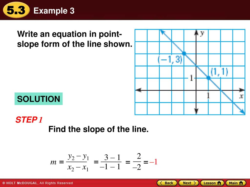 Warm up lesson presentation lesson quiz ppt download example 3 write an equation in point slope form of the line shown solution falaconquin