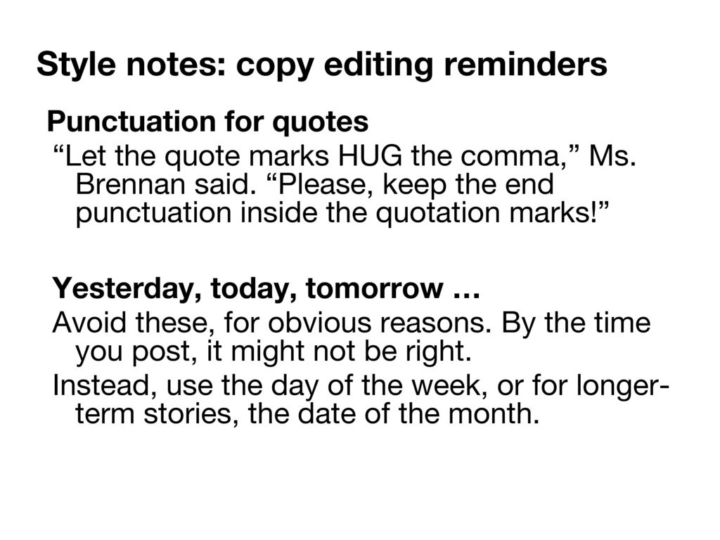 Punctuation With Quotes Style Notes Editing Ppt Download