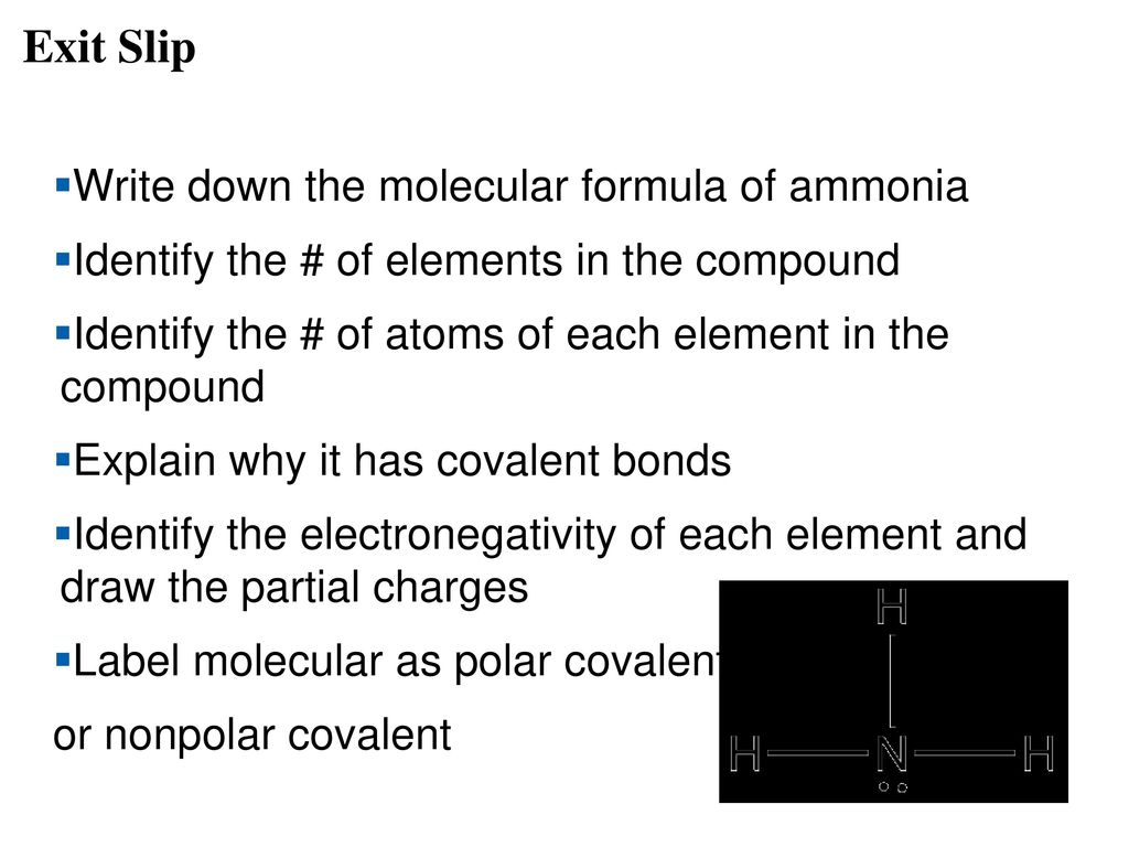 The chemical context of life ppt download exit slip write down the molecular formula of ammonia biocorpaavc Images