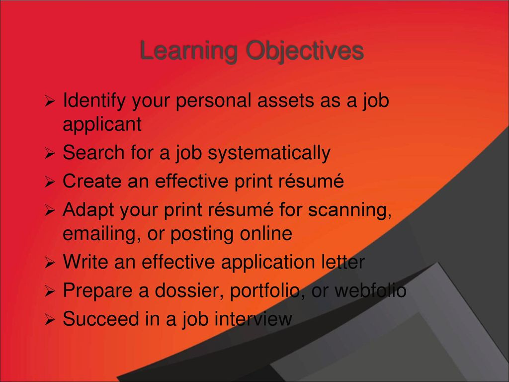 Chapter 17 rsums and other employment related communication learning objectives identify your personal assets as a job applicant altavistaventures Gallery