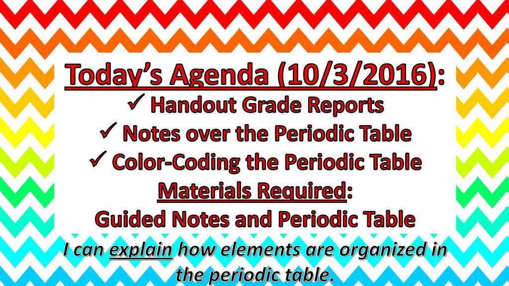 Todays agenda 9302016 notes over the periodic table ppt download todays agenda 1032016 handout grade reports urtaz Gallery